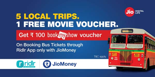 BookMyShow voucher on booking local trips on Ridlr