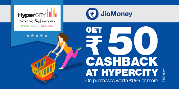 Get Rs 50/- cashback at HyperCITY outlets