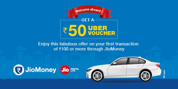 Uber vouchers on first trasnaction via JioMoney App
