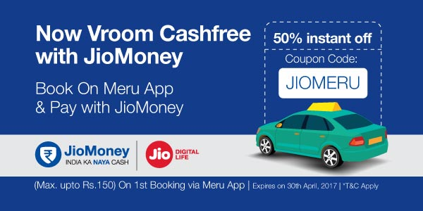 Get 50% instant Off on Meru App with Jiomoney