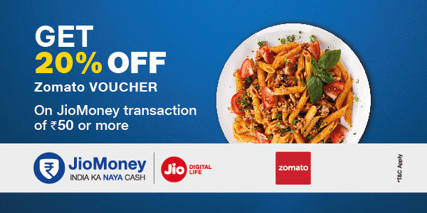 Get 20% off Zomato Voucher on payment via JioMoney
